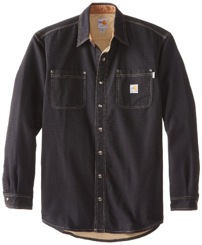 Carhartt Men's Big & Tall Flame Resistant Canvas Shirt Jacket,Black,XX-Large Tall