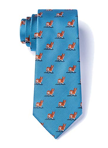 Welsh Corgi Jewelry Pin - Men's Welsh Corgi Dog Lover Animal Novelty XL Extra Long Necktie Tie (Ocean Blue)