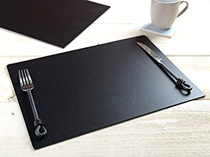 Amazing Set Of 8 Black Extra Large Leatherboard Placemats Interior Design Ideas Clesiryabchikinfo