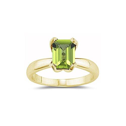 Emerald Cut Peridot Solitaire Ring - 5