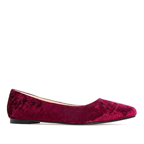 Andres Machado AM5228.Ballet Flats In Glitter/Patent.Large Sizes:UK 8 To 10.5/EU 42 To 45. Red Velvet