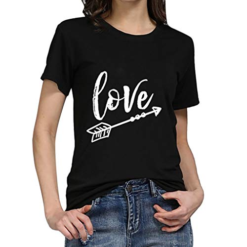 (2019 New Women Girls Plus Size Letter Tees Shirt Short Sleeve T Shirt Blouse Tops Under 10 Dollar Black )