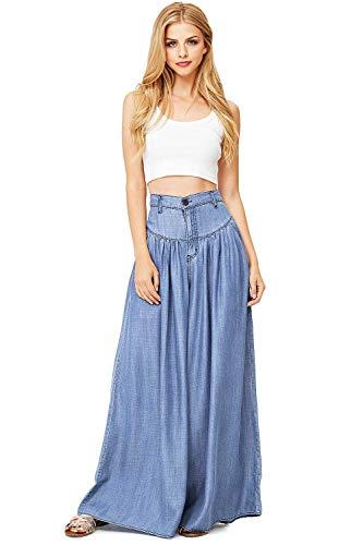 Vibrant Women's Juniors Super Wide Leg Denim Pants (S, Denim)