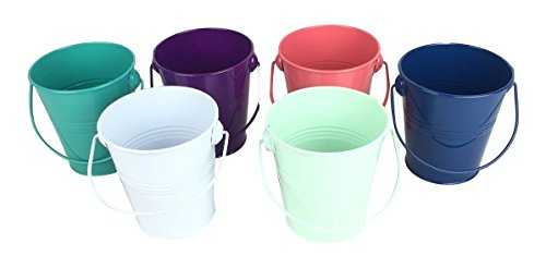 (Craft Outlet Small White Tin Pail with Handle (Set of 6), 4.5