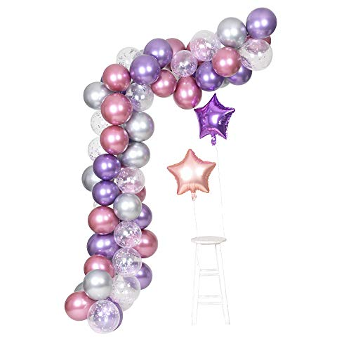 Purple Metallic Chrome Pink Silver Balloons Garland Arch