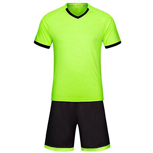 望遠鏡ビジターアプトKINDOYO ワールドカップサッカージャージー、通気性の半袖シャツ、サッカーキット、スポーツウェア (蛍光グリーン色,28)