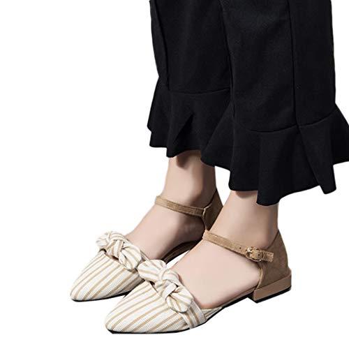 Chaussons Manadlian Rayures Beige Sandales Carré Femmes Eté Bout Chaussures Talon Pointu Décontractées À rrRw8