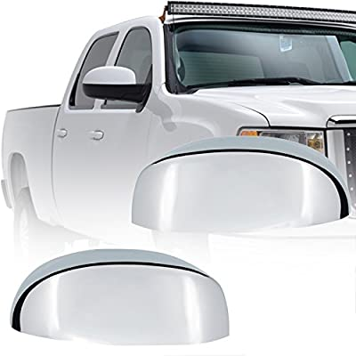 E-Autogrilles Triple Chrome Plated ABS Replacement Upper Half Mirror Cover for 07-14 GMC Yukon / Sierra / 07-14 Cadillac Escalade / Chevrolet Tahoe / Suburban / Silverado / Avalanche (65-0107)