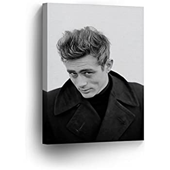 50c2a27595 SmileArtDesign James Dean Wearing Black White Wall Art Canvas Print  American Icon Artwork Home Decor Wrapped Wood Stretched Ready to Hang-%100  Handmade in ...