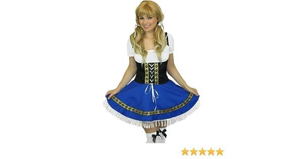 Yummy Bee Disfraz de Chica Bávara de la Fiesta de la Cerveza Oktoberfest Alemana + Medias Fiestas de Disfraces Mujer Talla Grande 36 - 56 (Mujer: ...