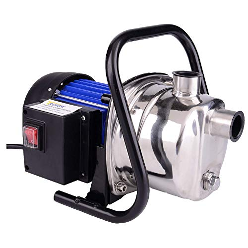 (Trupow 1.6HP Home Garden Land Jet Stainless Steel Shallow Well Water Lawn Sprinkling Booster Irrigation Pump)