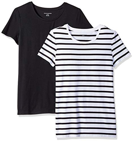 Amazon Essentials Women's 2-Pack Short-Sleeve Crewneck Patterned T-Shirt, White Mariner Stripe/Black, Large