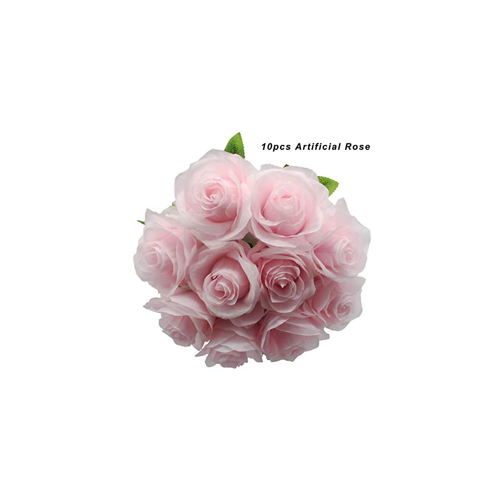 Kislohum Artificial Flowers Bulk Pink Roses 10pcs Real Looking Fake Silk Roses for Wedding Bouquets Floral Leaf Centerpieces Party Home Decor Baby Shower-Pink