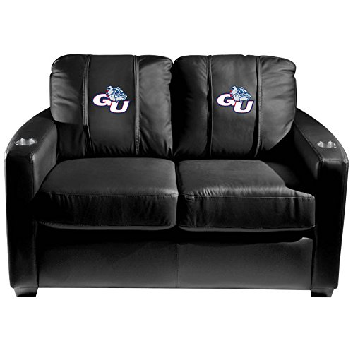 XZipit College Silver Loveseat with Gonzaga Bulldogs Logo Panel, Black