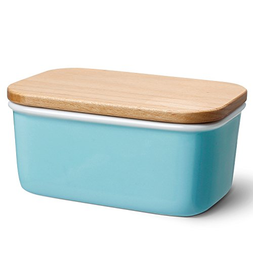 Butter Tub - Sweese 3158 Large Butter Dish - Porcelain Keeper With Beech Wooden Lid, Perfect for 2 Sticks of Butter, Turquoise