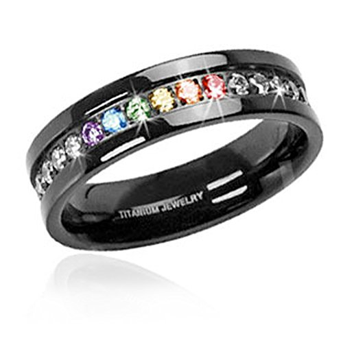 (1) Jet Black Rainbow Super Full String Clear & Rainbow Ring. Gay & Lesbian Pride Stainless Steel Ring. Wedding Marriage or Engagement band CZ Stones. LGBT Pride Jewelry - 6 ()