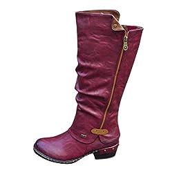 Women's Knee High Boots,Ladies Zipper Ca...