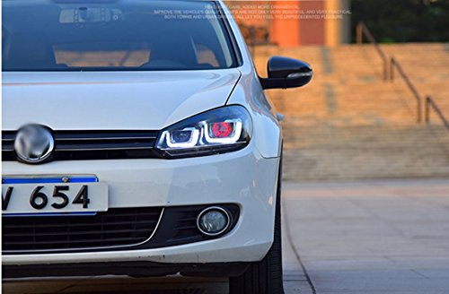 GOWE Car Styling ForVW Golf 6 Headlights 2010-2013 Golf6 mk6 LED Headlight Angel Eye LED DRL Bi Xenon Lens Parking Fog Lamp Color Temperature:8000k;Wattage:35w 4