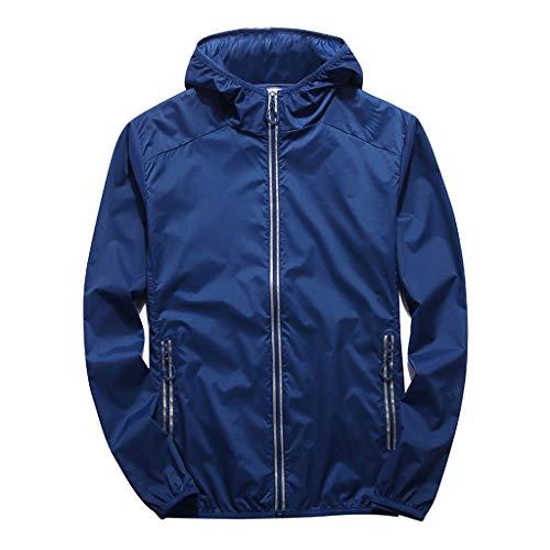 Londony Men's Lightweight Windbreaker Jacket Waterproof Hooded Outdoor Jackets Casual Outwear Shell Zip Rain Jacket Blue