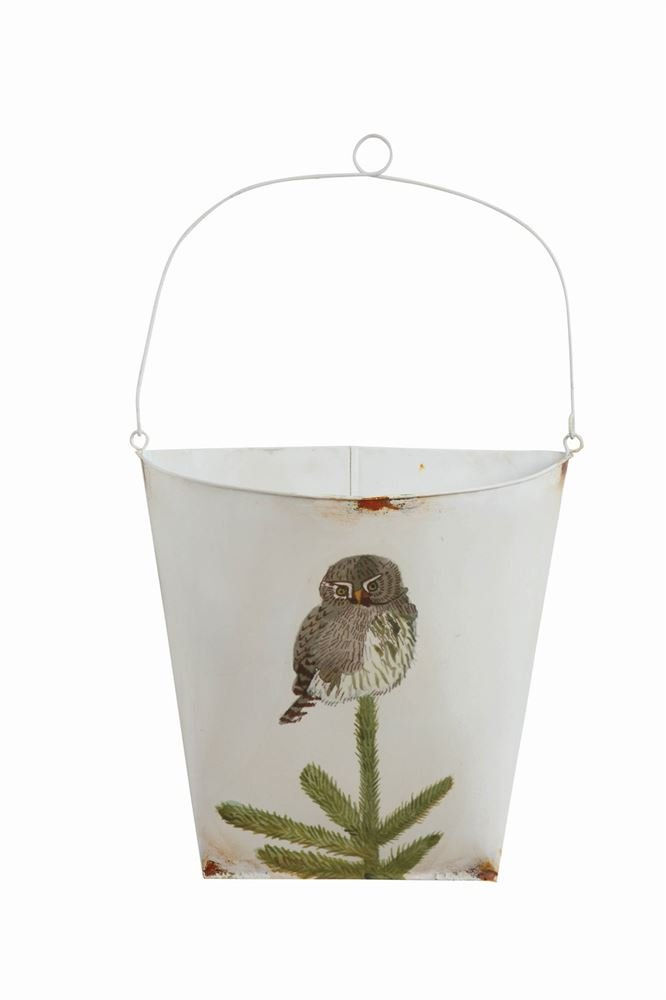 Heart of America Tin Half Bucket Wall Decor With Owl - 2 Pieces