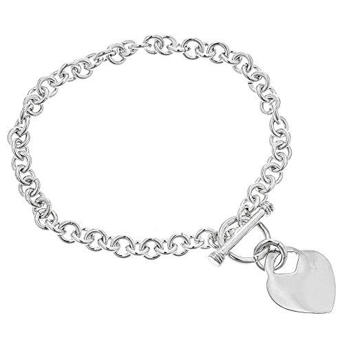 Heart Tag Toggle Bracelet - Ritastephens Sterling Silver Charm Link Heart Tag Toggle Bracelet 8 Inches