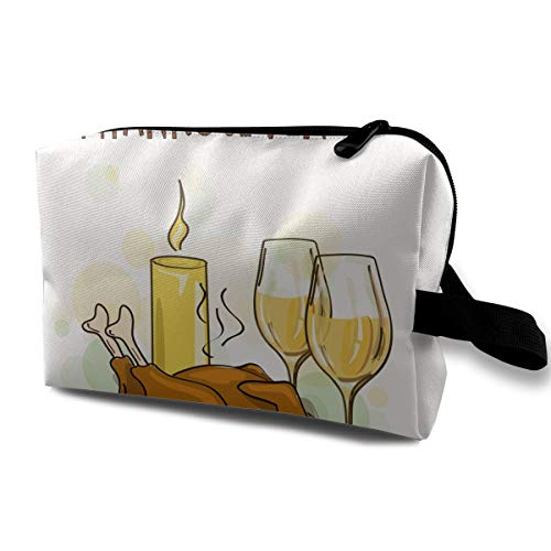 - Toiletry Jewelry Bag Happy Thanksgiving Food Waterproof Graphic Organizer Portable