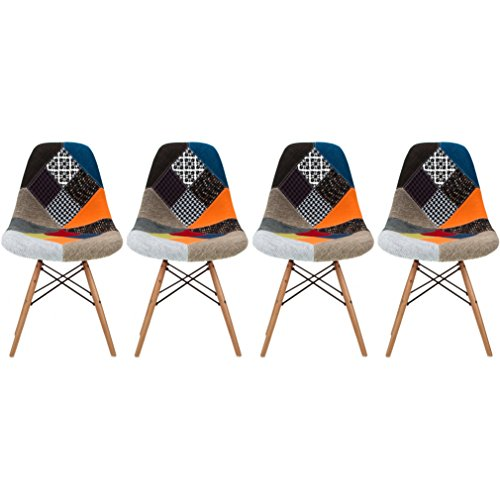 2xhome - Set of Four (4) Multicolor – Modern Upholstered Eames Style Side Fabric Chair Patchwork Multi-pattern Natural Wood leg Eiffel Dining Room Chair No (Style Fabric Upholstered Chair)