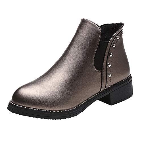 Mujer Rodilla Botines tacón Negro Botas Mujer 2018 de Hebilla Altas de para Plana Otoño Zapatos Botas con Altas Trabajo Mujer Tacon Calientes Invierno Mujer cuña de Botas Gold Zapatos De Cómodo xq068I