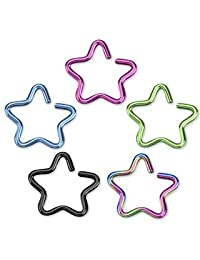"""Cartilage Single Closure Star Ring Titanium IP Over 316L Stainless Steel Fake Non-Piercing Cartilage 'Clip-On' (16g 3/8"""" 10mm Rainbow)"""
