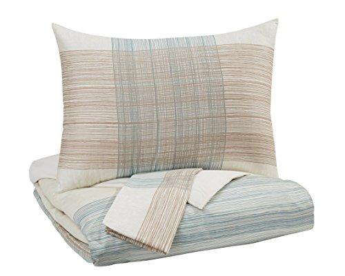 Ashley Furniture Queen Bedding - Signature Design by Ashley Jenae Queen Duvet Set, Blue/Brown