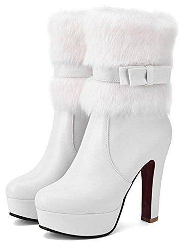 Easemax Women's Trendy Fluffy Fur Pointed Toe Side Zipper Chunky High Heel Platform Ankle Boots White BMrLE