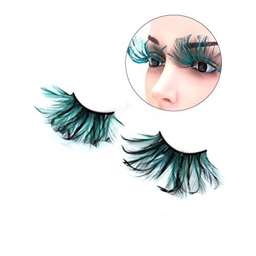 Frcolor Blackish Green Feather False Eyelashes Eye Lashes Party Dance Halloween Costume -