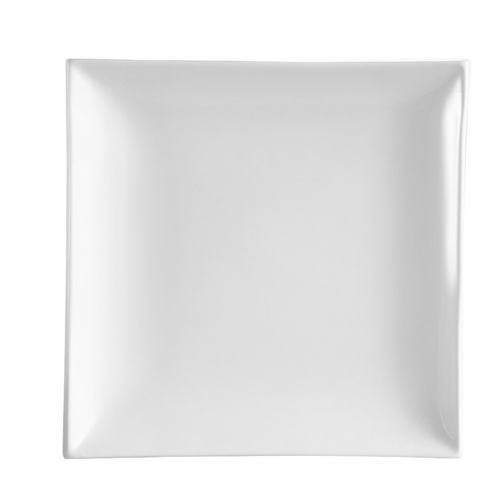 CAC China TOK-8 Tokyia Super White Porcelain Thick Square Plate, 8-1/2-Inch, Box of 24