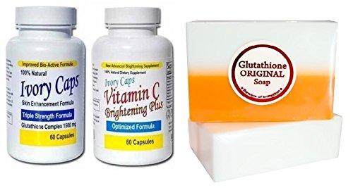 Set of (Ivory Caps Skin Whitening 1500mg Glutathione Pill...