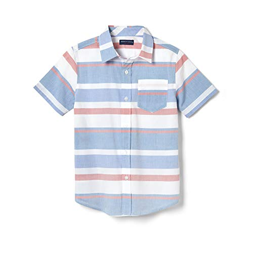 Shirt Woven Down Button Collar - French Toast Boys' Toddler Short Sleeve Woven Shirt, Blue Raffia Stripe, 4T