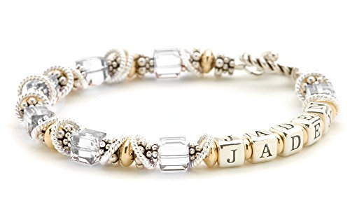 Personalized Mothers Jewelry - April Birthday Crystal, Sterling Silver & 14k Gold Filled Beaded Bracelet ()