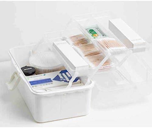 家庭用薬箱 ファーストエイドボックス お薬収納 メディカルポーチ 薬入れ 医療用 緊急応急 応急手当小物入れ 大容量 おくすりポーチ 撥水 仕切り 折りたたみ式 三層 大容量 27x17x13cm 33x20x16.5