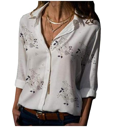 (Sayah Womens Floral Printed Turn Down Collar Long Sleeve Baggy Single-Breasted Top Shirt White L)