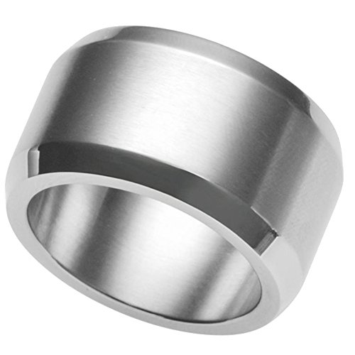 Jude Jewelers 15mm Stainless Steel Matte Black Brushed Ring (stainless-steel, 11) (Ring Steel Stainless Brushed)