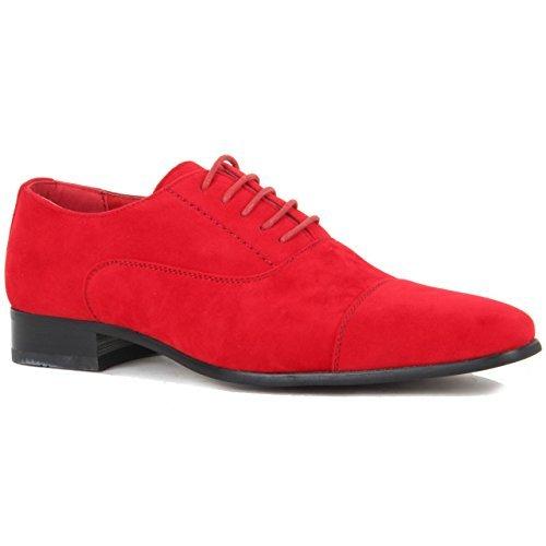 Herren Schnürschuh Kappe Fuß aus echtem Leder Gangster gefüttert Smart Spectator Schuhe Rote Wildleder