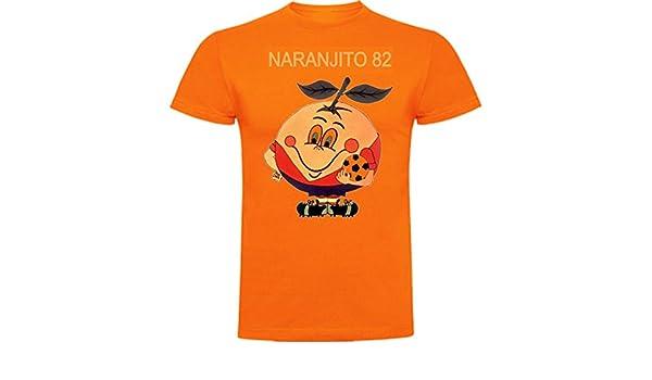 The Fan Tee Polo de Hombre Divertidas Naranjito 82 Mundial España Futbol Deporte Retro
