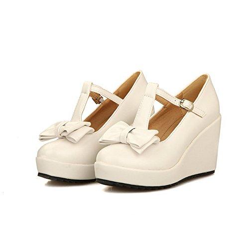BalaMasa da donna zeppe fibbia in morbido materiale pumps-shoes, Bianco (White), 35