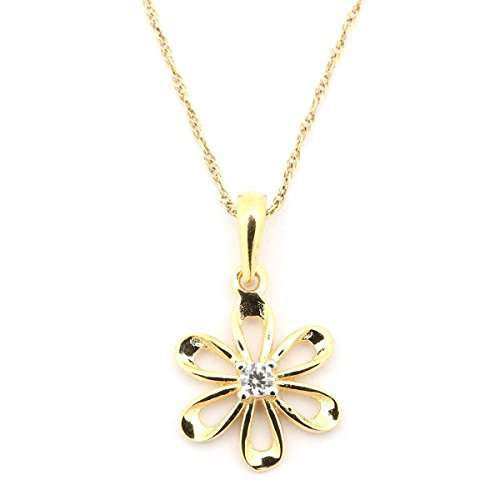 14k Yellow Gold CZ Cubic Zirconia Daisy Flower Pendant Necklace, 20