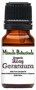 Miracle Botanicals Organic Rose Geranium Essential Oil - 100% Pure Pelargonium Roseum x Asperum - 10ml or 30ml sizes - Therapeutic Grade - 10ml