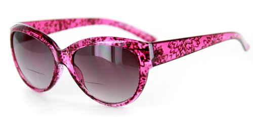 """Bombshell"" Vintage-Inspired Fashion Bifocal Sunglasses (Demi Pink/Smoke +2.00)"