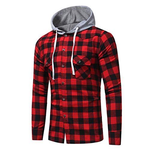 Danhjin Men Long Sleeve Lattice Printed Plaid Hoodie Standard-Fit Hooded Button Down Sweatshirt Tops Blouse Jacket (Red, XXL) by Danhjin