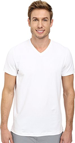 Kenneth Cole New York Men's Cotton Span Tech V-Neck, White, X-Large