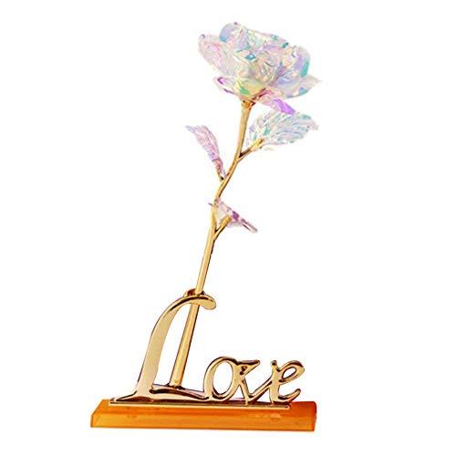 (Braceus LED Simulation Rose Flower Vibration Wired Love Light Lamp Decor Birthday Teacher's Day Gift 1#)
