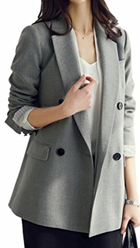 xtsrkbg Women's Suit Jacket Slim Fit Double Breasted Lapel Workwear Coat Grey L by xtsrkbg