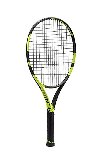 "Babolat Pure Aero Junior 25 Inch Black/Yellow Tennis Racquet (4"" Grip) Pre-Strung from Manufacturer"